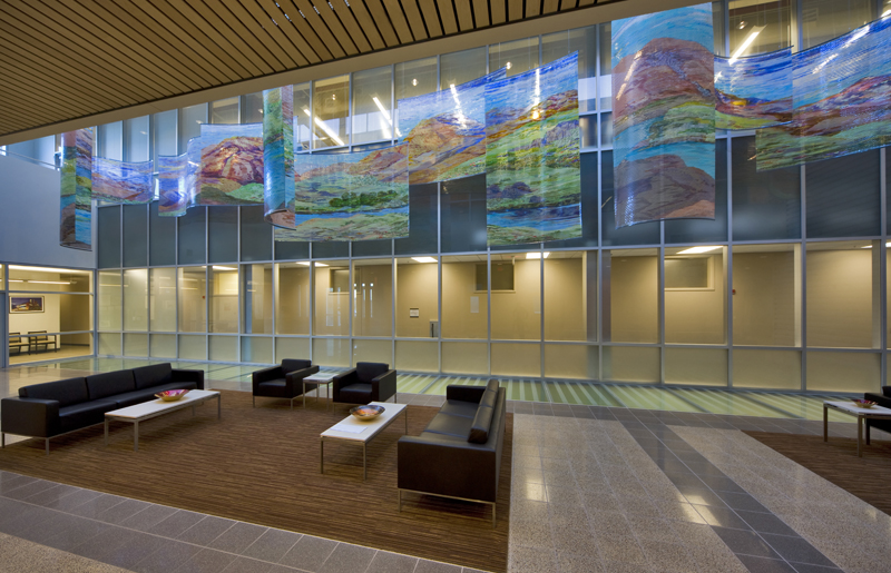 """The 11 sections of """"Outside, Inside"""" span the 65' long entry corridor lobby to the public area of this 5 story laboratory."""