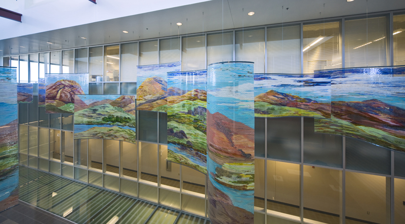 Varying perspectives can be seen from the glass enclosed lab offices on the second floor.